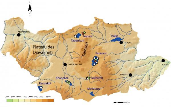 Figure 1 : Localisation des carottages effectués sur le plateau de Javakheti. En rouge : carottages antérieurs au LIA (2009-2011), en blanc : carottages de 2012, en vert : carottages de 2013.
