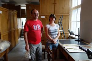 Figure 1: Roman Hovsepyan and Lucie Martin at the herbarium of Institut of Botany, Yerevan, Armenia. (Photo R. Hovsepyan, L. Martin)